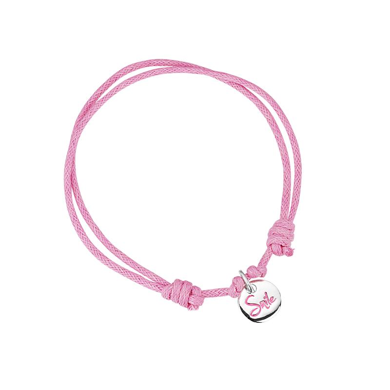 girls pink bracelet sterling silver smile charm jo