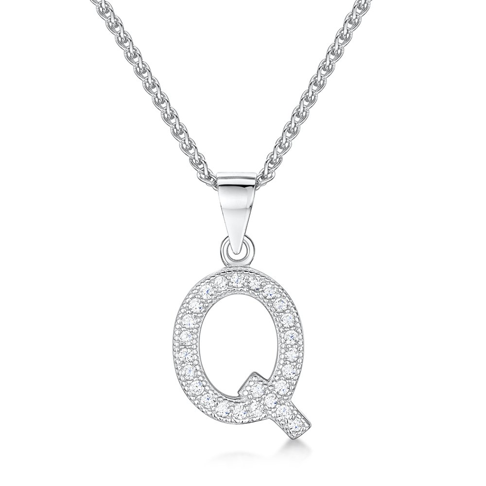 d21d3c0acca4 Letter Q sterling silver and cz woman's initial necklace - Jo For Girls