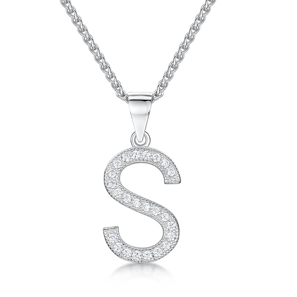 Letter s sterling silver and cz womans initial necklace jo for womens initial s sterling silver and cubic zirconia letter pendant mozeypictures Image collections