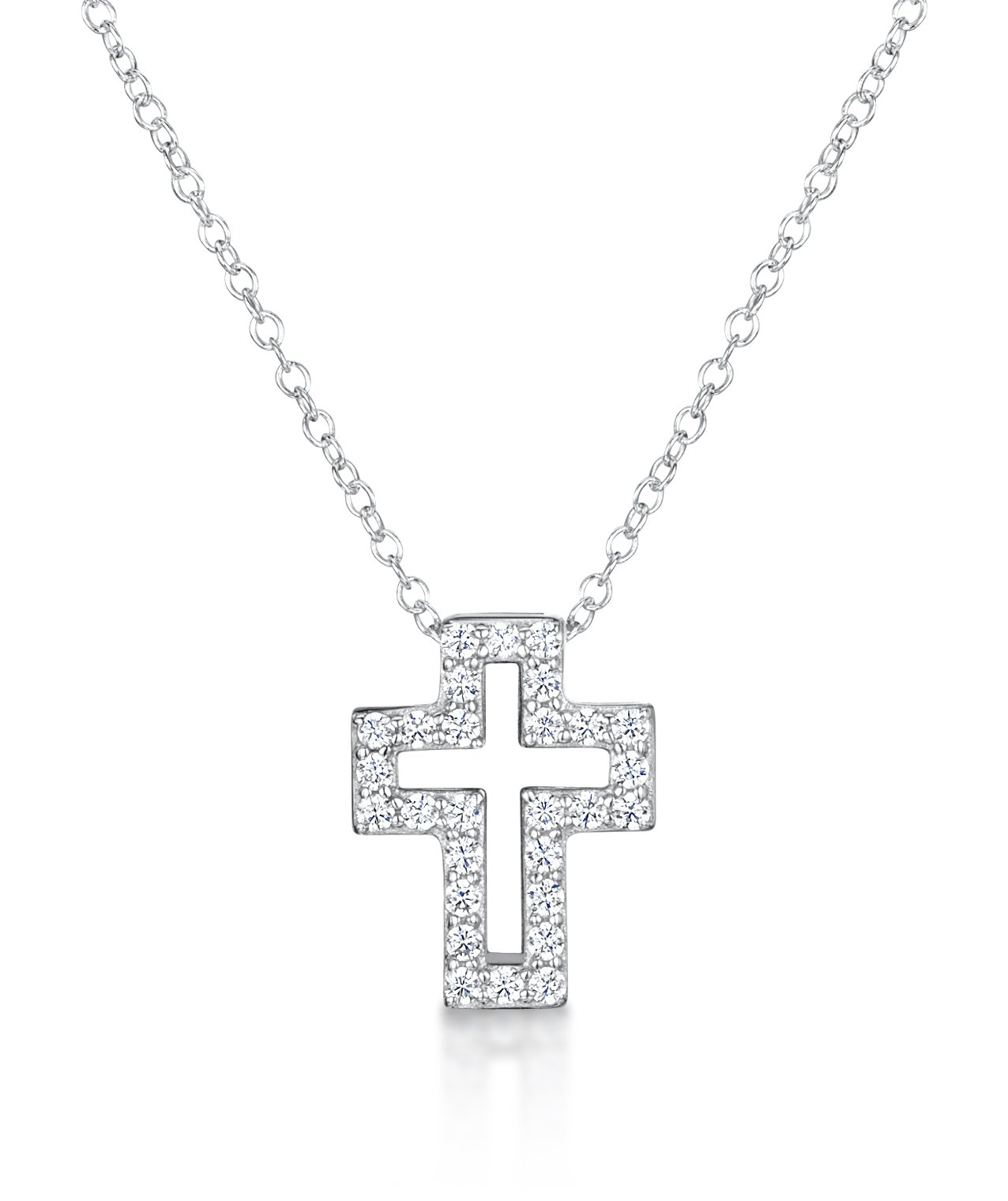 Girls cubic zirconia cross pendant in sterling silver jo for girls girls cubic zirconia cross pendant in sterling silver aloadofball Image collections