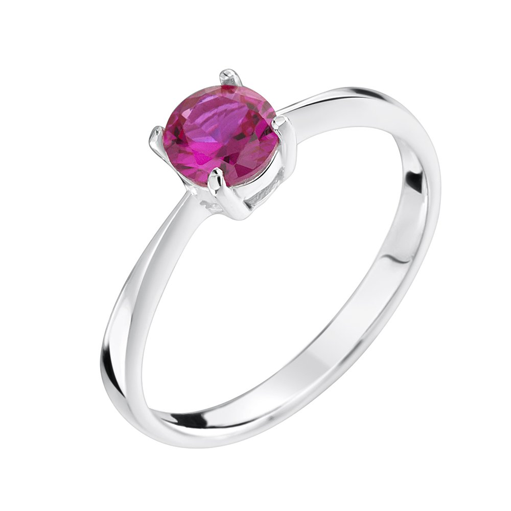 girls sterling silver solitaire ring with ruby cz jo for girls. Black Bedroom Furniture Sets. Home Design Ideas