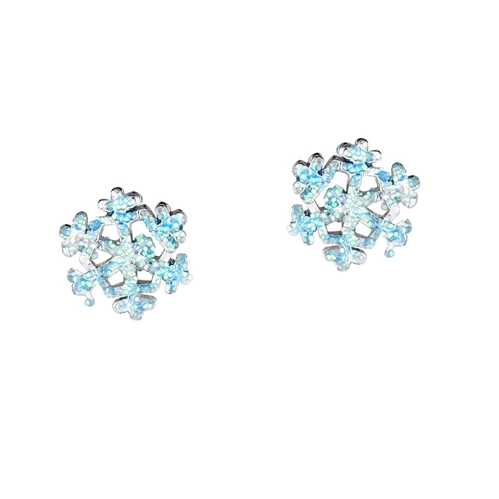 sterling silver blue snowflake stud earrings jo
