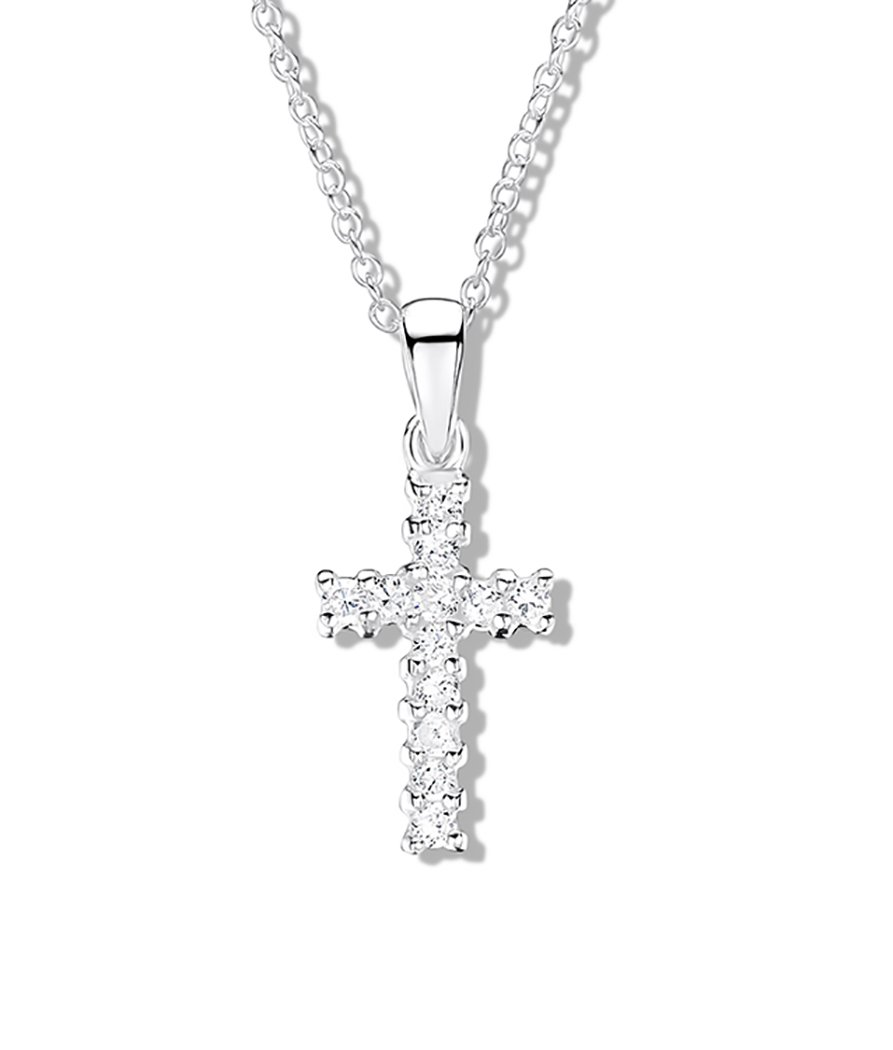 Girls sterling silver cubic zirconia cross pendant jo for girls girls sterling silver cubic zirconia cross pendant aloadofball Image collections