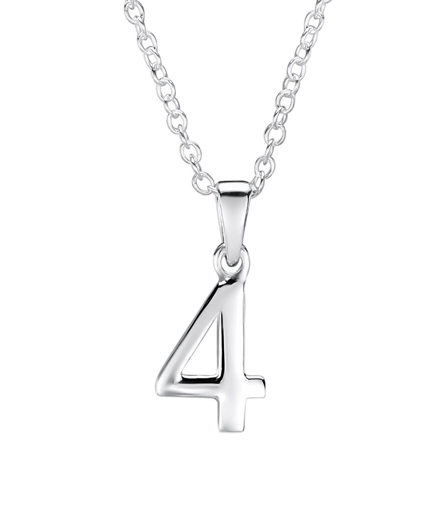 Girls sterling silver number 4 pendant jo for girls girls sterling silver number 4 pendant aloadofball Image collections