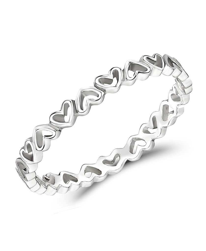 Lovely girls sterling silver hearts stacking ring - Jo For Girls JK46